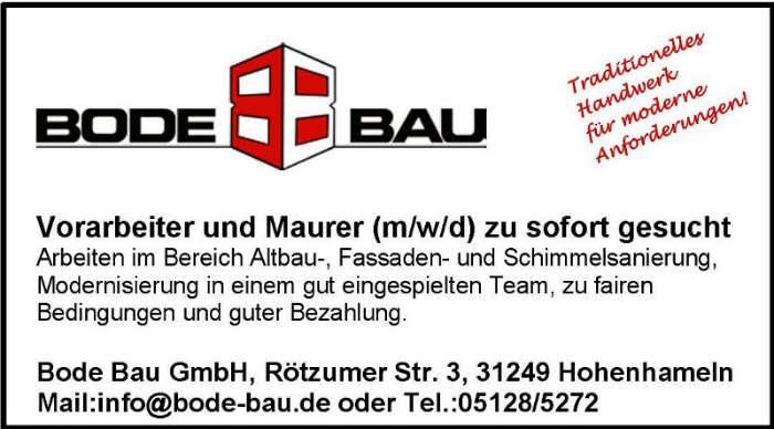 Vorarbeiter und Maurer (m/w/d) zu sofort gesucht – Werden Sie Teil des Teams von Bode Bau!