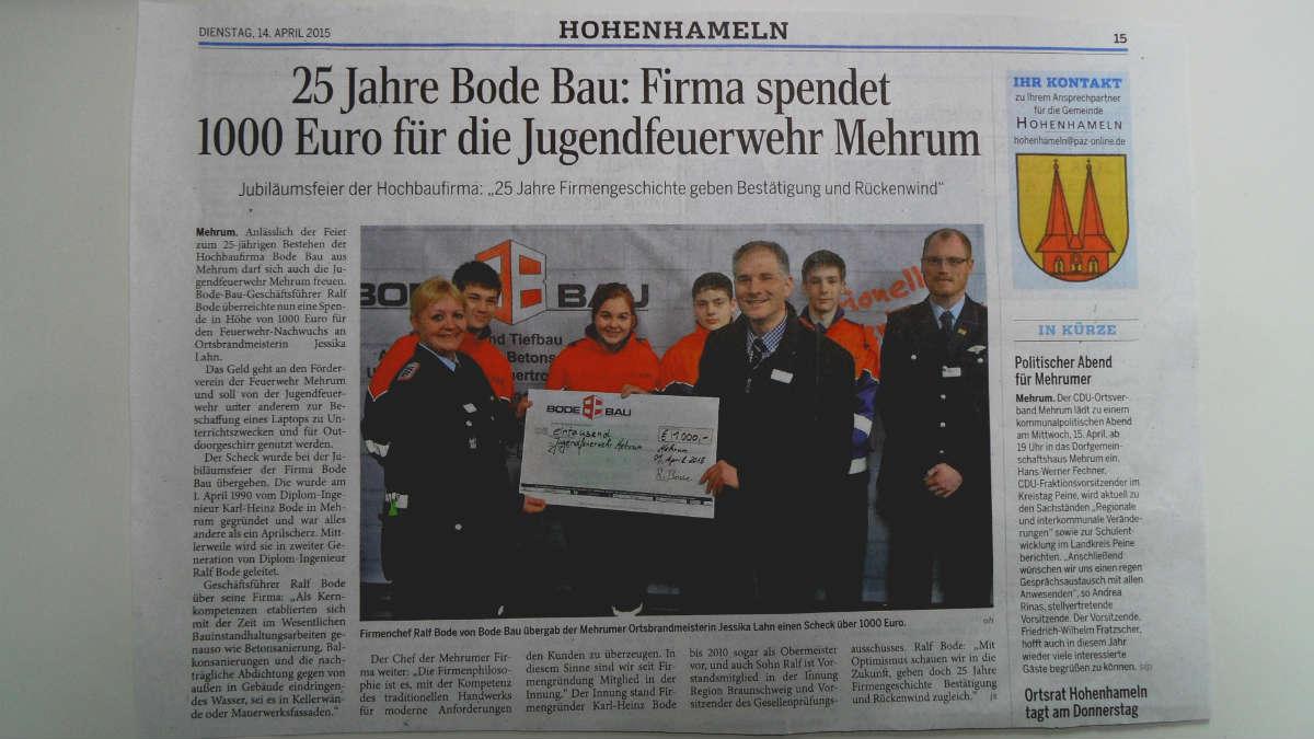 Die Peiner Allgemeine Zeitung berichtet – Spende für die Jugendfeuerwehr Mehrum